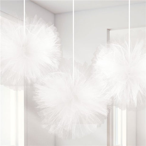 white tulle decorations