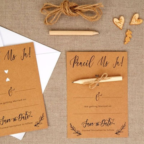 Save the Date card with pencil