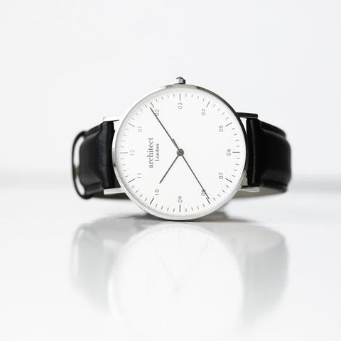 watch with black leather strap