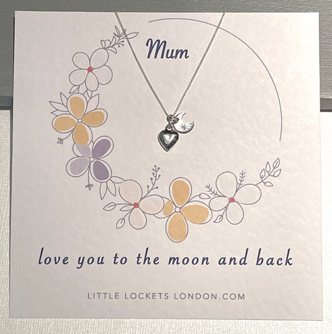 Moon and heart pendant on Mum card