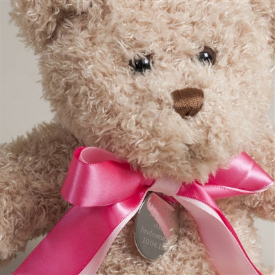 personalised thank you teddy bear with pink ribbon