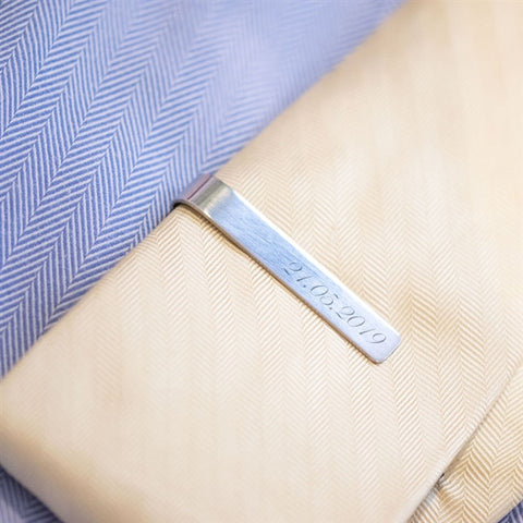 tie clip with engraved date