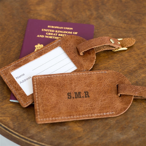 brown leather luggage tag personalised