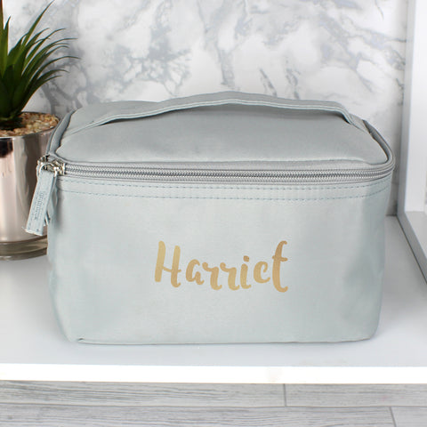 personalised vanity case in grey with gold lettering