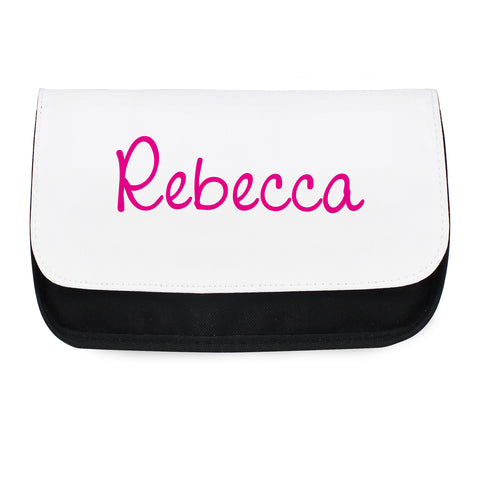 Make up bag personalised with pink text