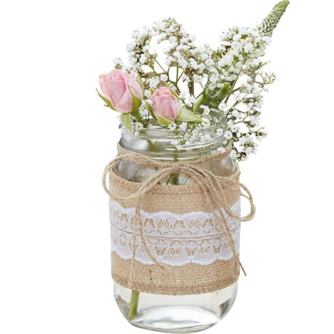 a hessian wrapped jar with flowers