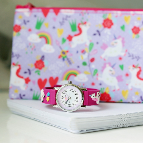 pink unicorn watch and pencil case