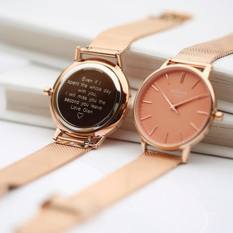 Personalised watch with rose gold strap