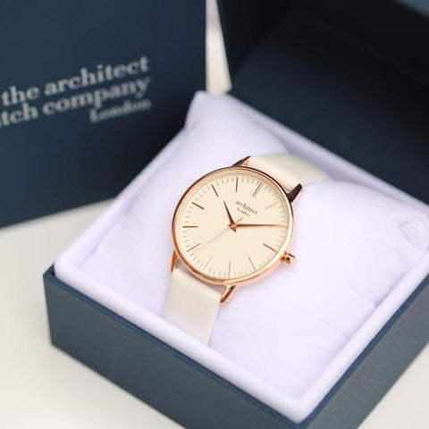 Watch with light pink strap gift boxed
