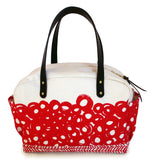 MECHI circle red canvas zippered bag