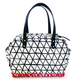 MECHI triangle black on red canvas zippered bag