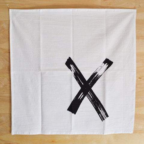 Graphic Black X Print Kitchen Towel