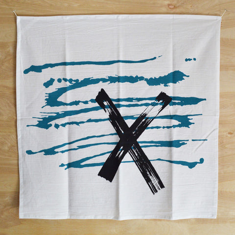 Graphic Blue Swish-X Print Kitchen Towel