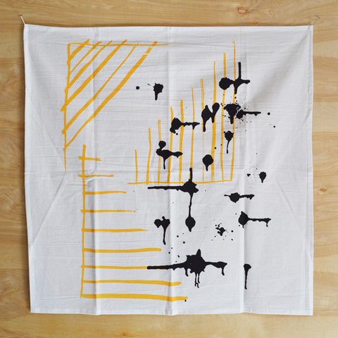 Graphic Yellow Corner-Driplets Print Kitchen Towel