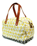 MECHI yellow triangle on black canvas zippered bag
