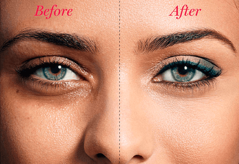 before and after using Mini Eye Massager Stick on one side of the face by a green-eyed woman