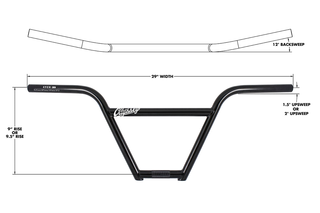 "Odyssey 49er 9.5"" 4pc Bar (Rust Proof Black)"