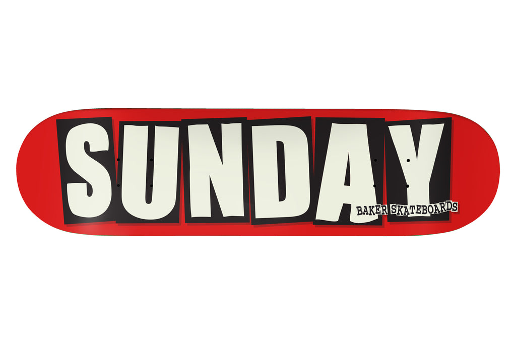 "SUNDAY x BAKER 8.25"" Skateboard Deck (Red)"