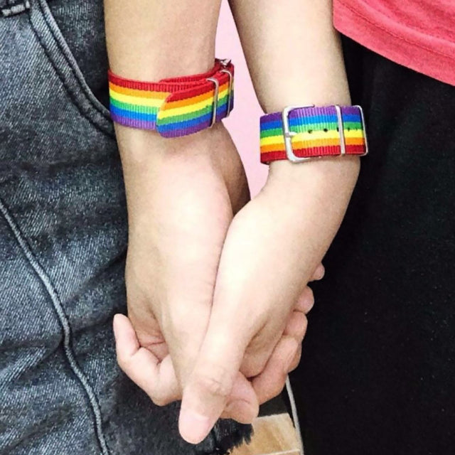 2pcs LGBT Rainbow Striped Pattern Belt Bracelet