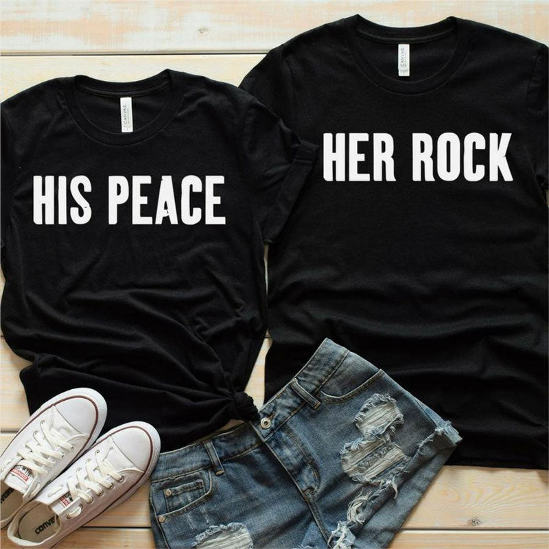 Couples Shirts - Her Rock & His Peace