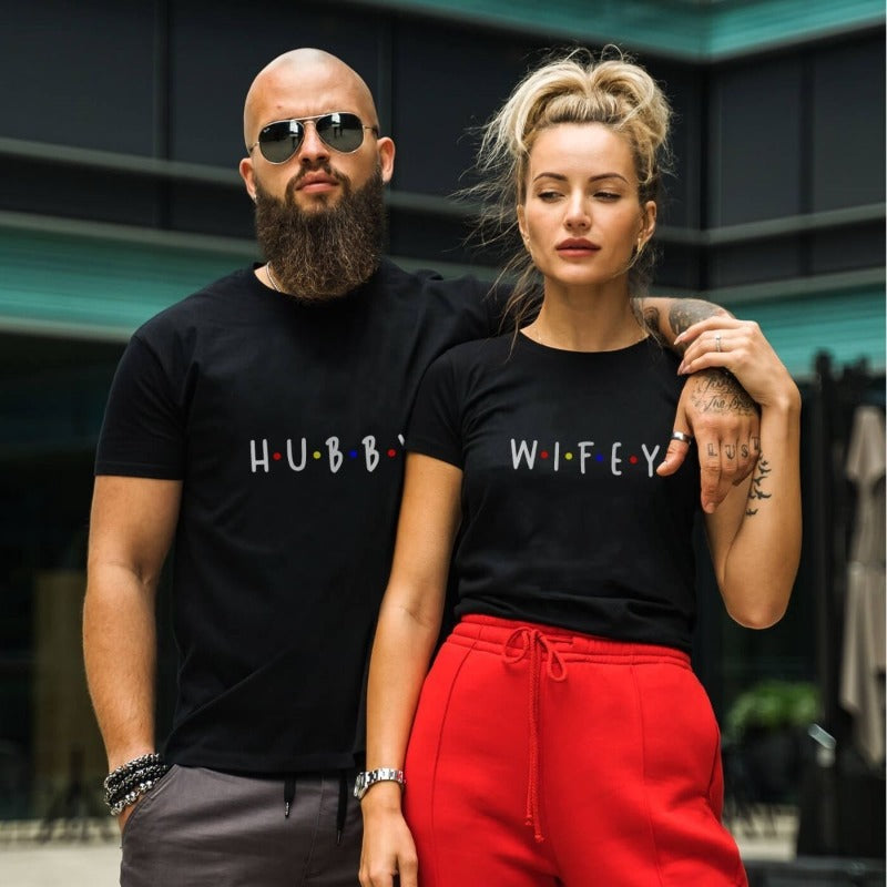 Couples Shirts - Hubby & Wifey Black Shirts