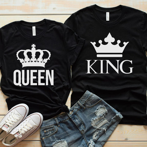 Couples Shirts - King & Queen Crown Shirts
