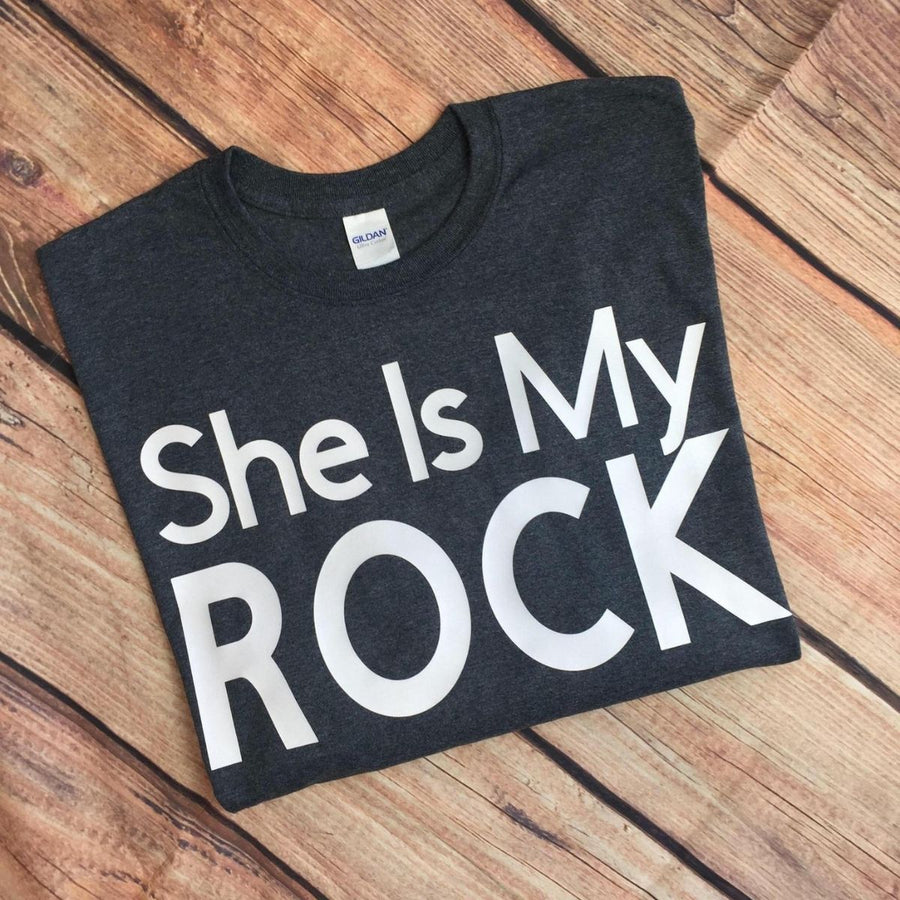 Couples Shirts - She Is My Rock He Is My Rock