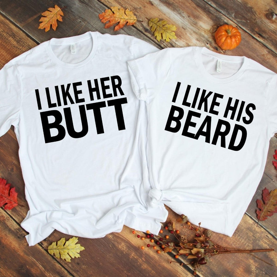 Couples Shirts - Beard & Butt White Shirts