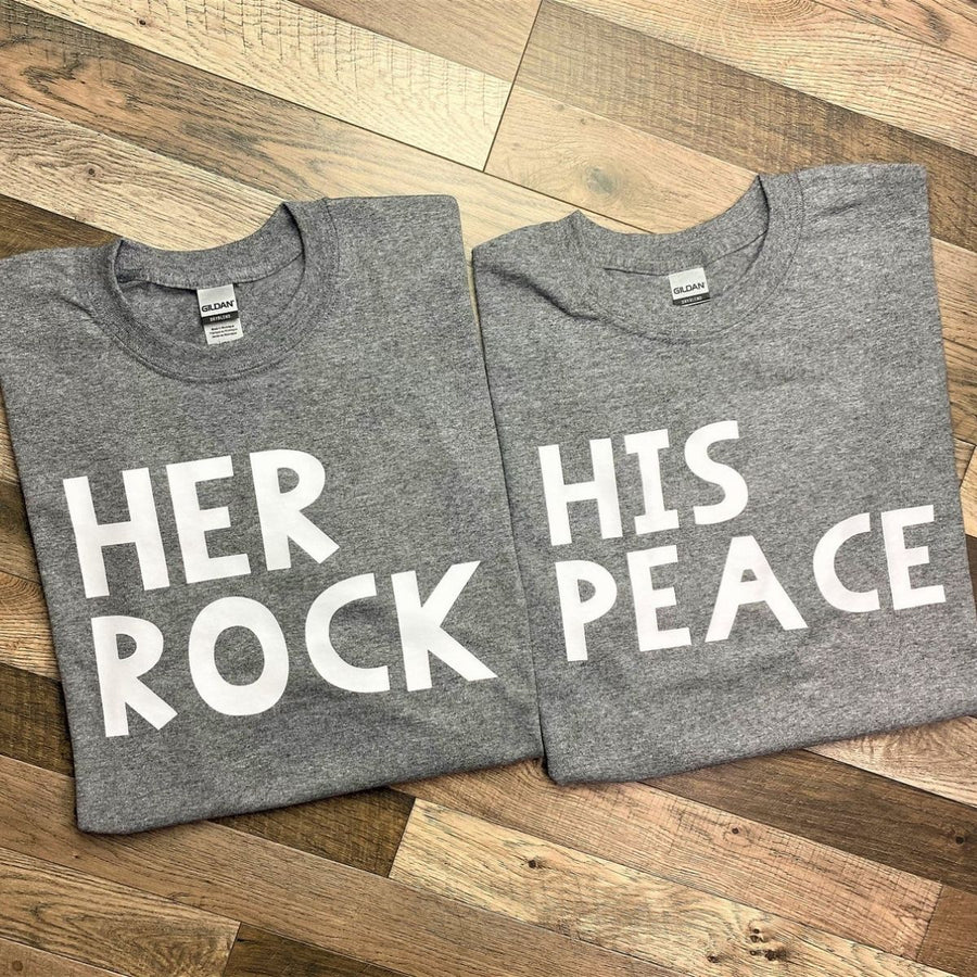 Couples Shirts - Gray Her Rock & His Peace Shirts