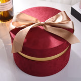 Load image into Gallery viewer, Round Velvet Flower Hat Box with Bowknot and Lid Luxury Gift Boxes Rose Bouquet Arrangement Gift Surprise Box Floristry DIY