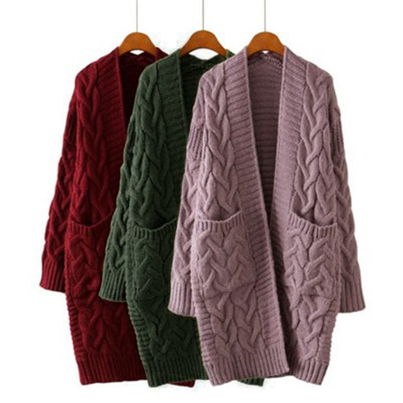 DIHOPE 2020New Autumn Winter Women's Loose Long Sleeve Korean Knit Sweater Cardigan Coat Thick Winter Women Cardigans Sweater