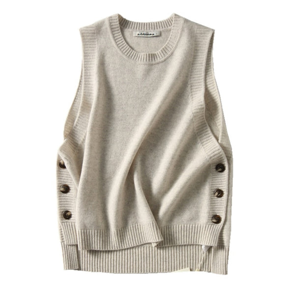 High Quality New Women's Round Neck Cashmere Sweater Wool Wild Vest Solid Color Spring Autumn Style Comfortable Warm Casual Vest