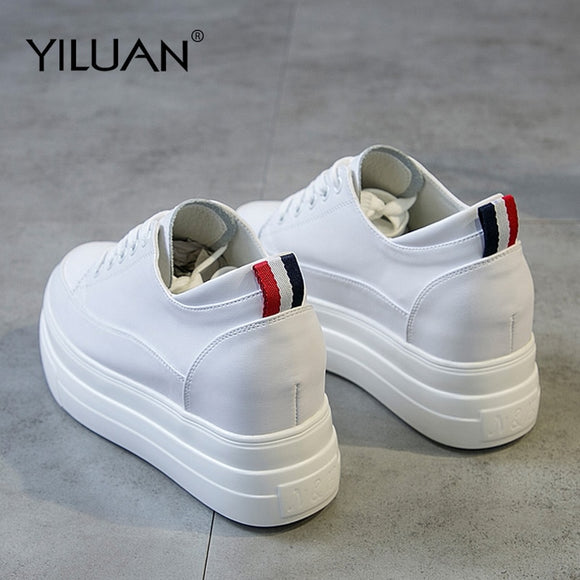 Yiluan Genuine Leather Women's White Shoes Platform Sneakers 2019 Spring autumn Fashion Women Black Increase Casual Shoes Woman