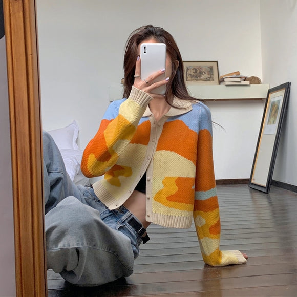 Retro sunset oil painting knit sweater autumn new women's thin lapel long-sleeved thin cardigan slim top