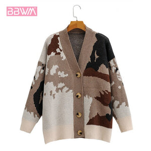 Camouflage Lazy Loose Knit Outer Wear Female Cardigan Korean Fashion V-neck Single Thicken Outer Wear Women's Sweater