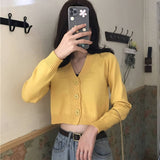 Women's Cropped Cardigan Sweaters Female Black White Short Sweater V Neck Single Breasted Sweater Woman Knitted  Korean Tops