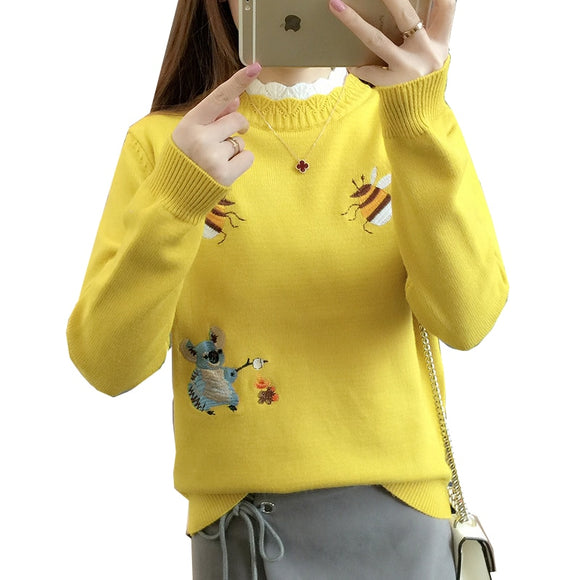 Knitted Turtleneck Women Autumn Winter 2020 New Korean Sweater Female Long Sleeve Jumper Yellow pink Pullover Sweaters Tops