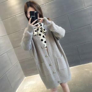 Women's Knitwear Thick Jacket Fall Oversized Loose Korean Style Single Breasted Winter Cardigan Sweater Ropa Mujer 2020