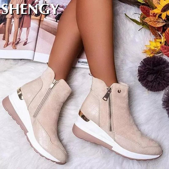 New Autumn Women's Shoes Ankle Boots Casual Ladies Platform Solid Color Ankles Boots Zipper Shoes Lightweight Wedge Sneakers