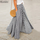 ZANZEA 2021 Elegant Women's Check Skirts Autumn Pleated Long Vestidos Female Casual Back Zip Maxi Shirts Plus Size Faldas Saia