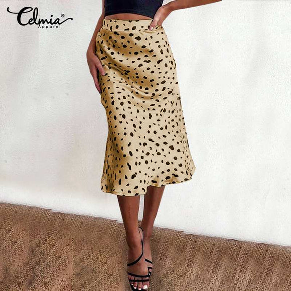 Celmia Sexy Women Long Skirts 2021 Summer Printed Beach Bottoms Casual Loose Elegant Office Lady Skirts High Waist Satin Skirts