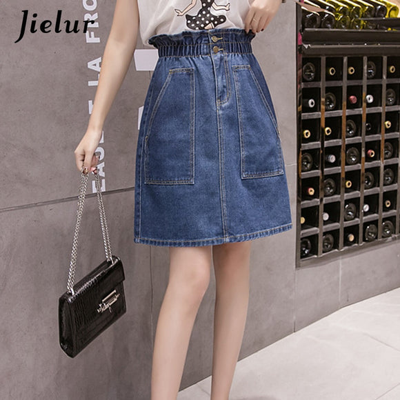 Jielur Plus Size High Waist Denim Skirt Big Pocket Autumn Skirt Simple Women 2020 Korean Style Leisure Chic Blue Skirts
