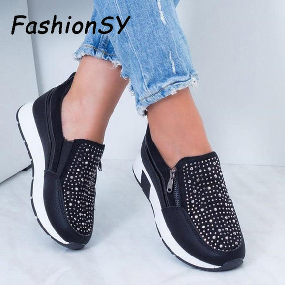Women Crystal Sneakers Spring Autumn Casual Zipper Flat Women Shoes Non-Slip Breathable Outdoor Women's Vulcanize Shoes 2021