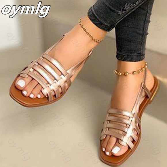 2020 Women Sandals Woman Gladiator Open Toe Casual Beach Shoes Female Hollow Out Flats Women's Outdoor Summer Footwear Plus Size