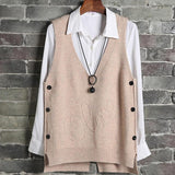 Button Knitting Vest Woman Sweater Solid V-neck Sleeveless Waistcoat Vests For Women 2021 Spring Fashion Ladies Pullover Tops
