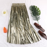 Fashion Women's Metallic Reflective Pleated Skirt Summer Casual High Waist Midi Skirt Ladies Party Club Gold Silver A-Line Skirt