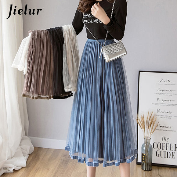 Jielur Mesh Skirt Autumn Winter Velvet Solid Color Elastic Waist Slim Pleated Skirts Womens Chic High Waist Women Skirt