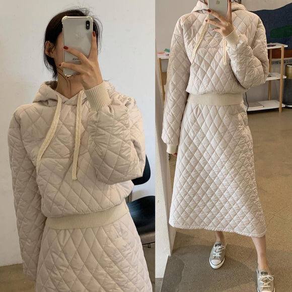 Loose Retro Diamond Cotton Dress Women'S A-Line Quilted Umbrella Skirt 2020 Winter New Chic Hooded Pullover Sweater + Skirt Suit