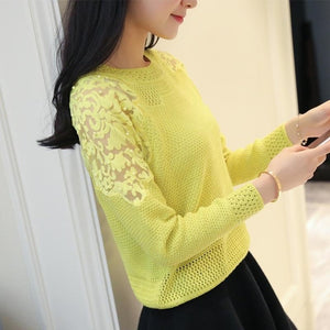 Spring 2021 new knitted sweater women long-sleeved O-neck women's sweater elastic knit full-sleeve lace patchwork soft pullover