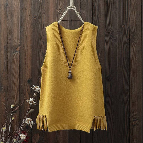 Woman Sweaters 2020 Autumn Winter Clothing V-neck Vest Women's Short Knitted Sweater Waistcoat Femme Chandails Pull Hiver
